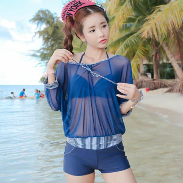 PS Mall 韓版 浪漫性感爆乳附罩衫繞脖四件式比基尼泳衣 泳褲 BIKINI 溫泉 沙灘【ET434】