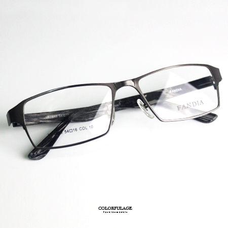 光學眼鏡 混色仿木質知性方框金屬鏡架鏡框 中性款 舒適軟膠鼻墊 柒彩年代【NYA14】 可配度數鏡片 0
