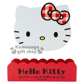 〔小禮堂〕Hello Kitty 玄關磁鐵式造型傘架《紅白.格紋蝴蝶結.大臉》新生活系列