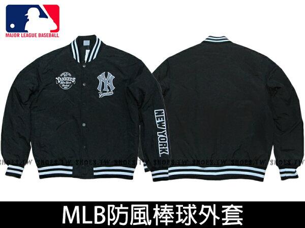 Shoestw【5560702-900】MLB 美國大聯盟 棒球外套 排釦 洋基隊 黑色 柔軟布