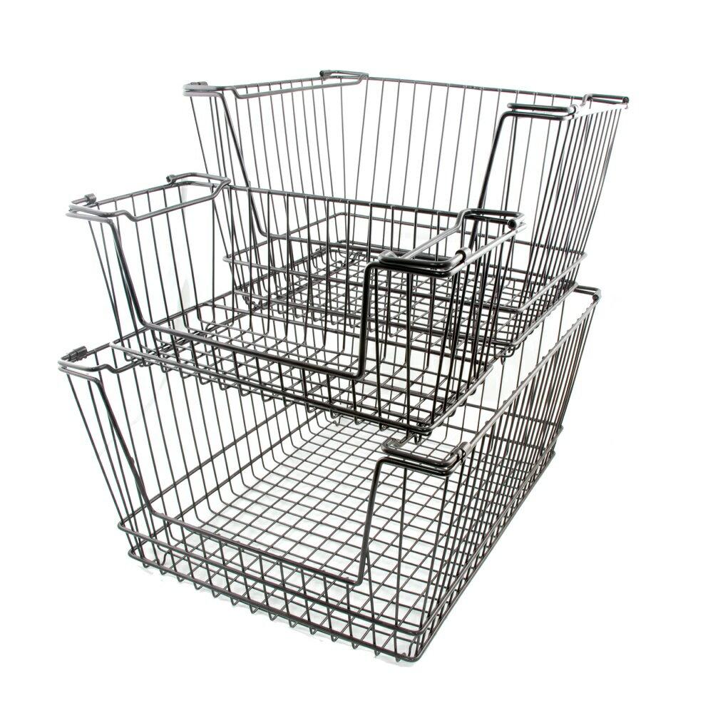 【凱樂絲】媽咪好幫手堆疊收納籃  一組三入促銷價899 - 自由DIY 空間利用 透氣通風, 客廳, 廚房, 衣櫃適用 1