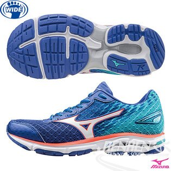 MIZUNO 美津濃 WAVE RIDER 19(W) 女慢跑鞋 路跑 (藍*銀*粉) 2016年下半年款