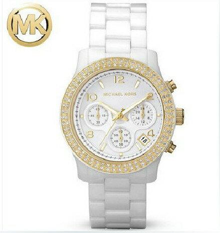 美國Outlet正品代購 MichaelKors MK 金色陶瓷 水鑽 三環 手錶 腕錶 MK5237 0