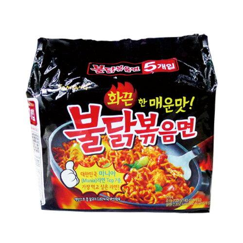 韓國 三養火辣雞肉風味鐵板炒麵/韓國泡麵(乾) 五包一袋 0