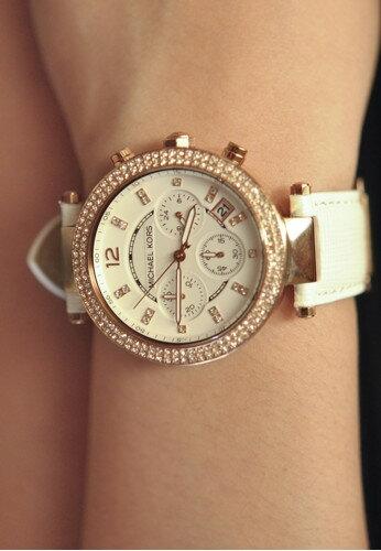 美國Outlet 正品代購 MichaelKors MK 玫瑰金鑲鑽 白色皮帶三環計時手錶腕錶 MK2281 8