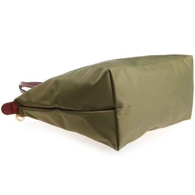 [2605-S號] 國外Outlet代購正品 法國巴黎 Longchamp 長柄 購物袋防水尼龍手提肩背水餃包 抹茶綠 3