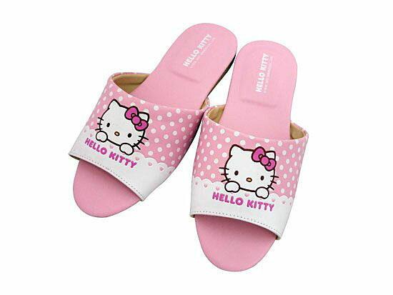 【真愛日本】室內皮拖-點點粉 18-26 三麗鷗 Hello Kitty 凱蒂貓 皮質室內拖鞋 台灣製