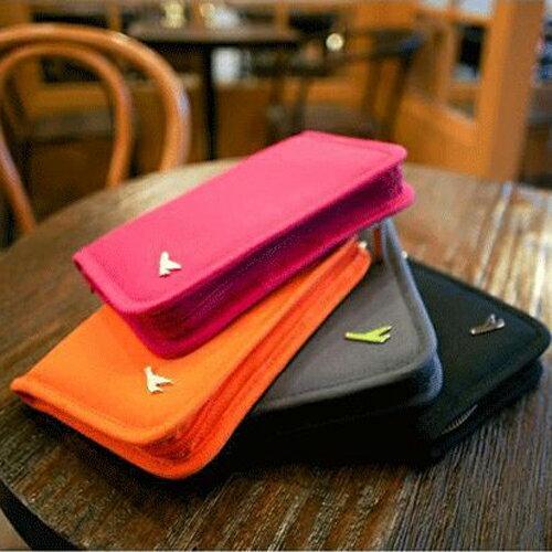 PS Mall 旅行手拿包韓國可愛短款護照夾 小飛機多功能帆布旅行 短款護照包【J2091】