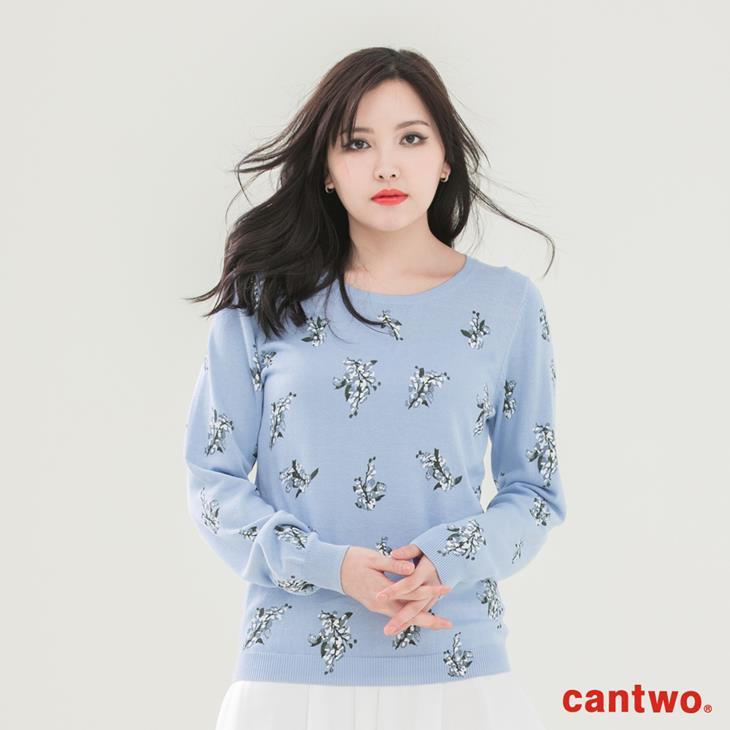 cantwo滿版印花長袖針織上衣(共三色) 0