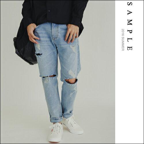 韓國製 牛仔褲 純棉仿舊水洗刀片破壞寬版直桶【JL16205】- SAMPLE