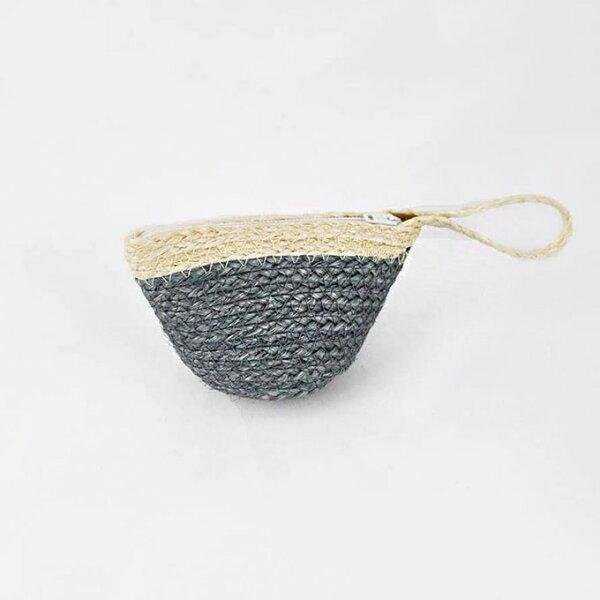 【Mi-Pin】西沙爾麻手工編織零錢包【手創包】藍灰色