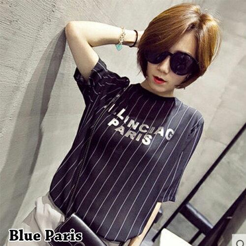上衣 / T恤 - 休閒圓領短袖印花字母直條寬鬆上衣【29106】藍色巴黎《2色》現貨+預購 0