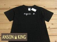 agnès b.到[Anson king] 正品 國外代購 agnes b.草寫 經典 LOGO 短袖 圓領 男款 T恤 黑