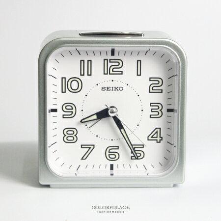 SEIKO精工鬧鐘 圓弧方型銀色白底鈴聲鬧鐘 滑動式靜音秒針 夜光功能 柒彩年代【NV1750】原廠公司貨 0