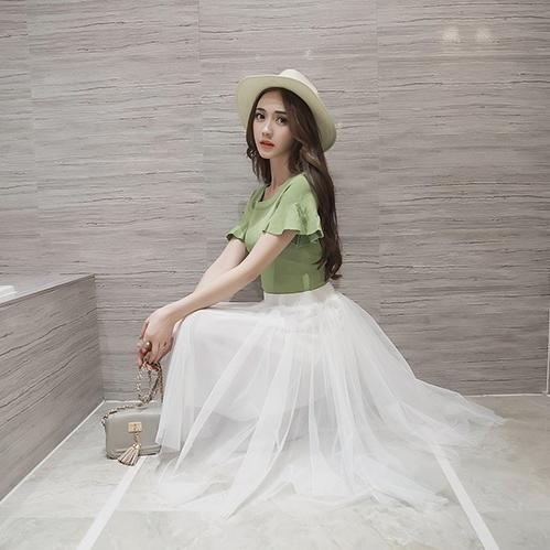 MiLove 2016夏裝新款多層網紗不規則長裙