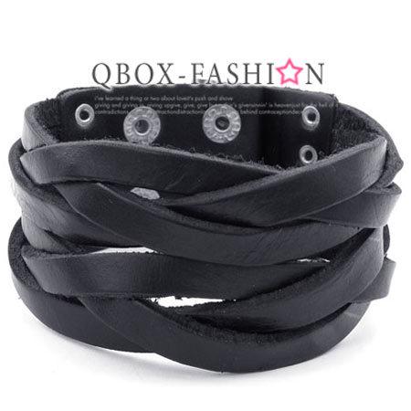 《 QBOX 》FASHION 飾品【W10023151】精緻個性編織皮革手鍊/手環(黑色)