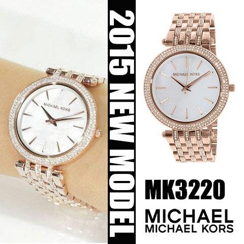 美國Outlet正品代購 MichaelKors MK 貝殼面水鑽 玫瑰金 手錶 腕錶 MK3220
