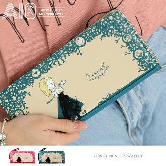 【限時結帳 5折】長夾 森林公主蕾絲方形皮夾 OB9182