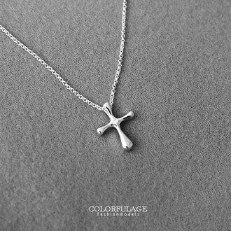 簡約質感十字架 925純銀項鍊 熱門禮物首選 簡單打造穿搭配件 柒彩年代【NPB624】抗過敏 0