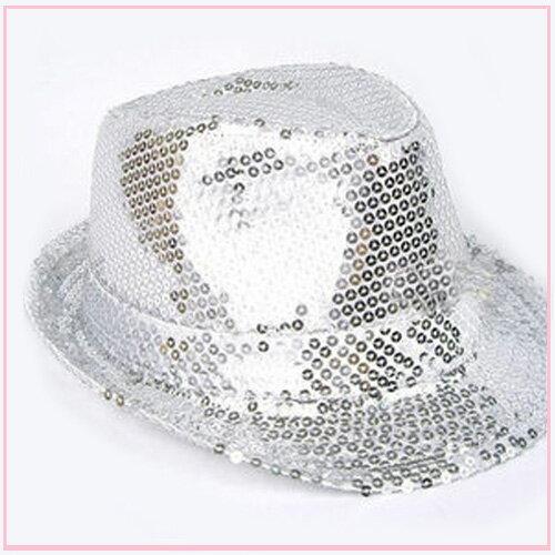 筱雅衣舖【A109】爵士風格亮片造型帽~尾牙表演萬聖節造型趴~銀色
