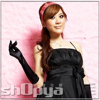 筱雅衣舖【A39】超高級15吋緞面手套-黑-粉-白-3色工廠直營價回饋