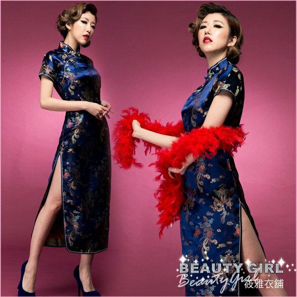 經典藍色上海風華麗復古緹花緞短袖長旗袍 大尺碼 筱雅衣舖【BA261】