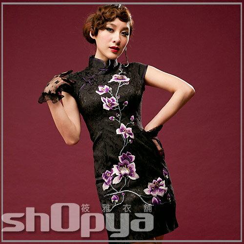 上海古典復古風黑色刺繡花朵及膝旗袍 大尺碼 筱雅衣舖【ABA592】