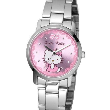 Hello Kitty凱蒂貓 蕾絲粉kitty貓公主腕錶 不鏽鋼手錶 原廠公司貨 柒彩年代【NE1643】LK680LWPI 0