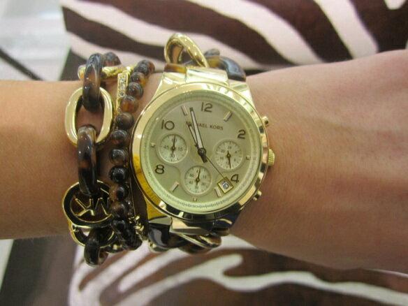 美國Outlet正品代購 MichaelKors MK 玳瑁三環 手鍊 手錶 腕錶 MK4222 7