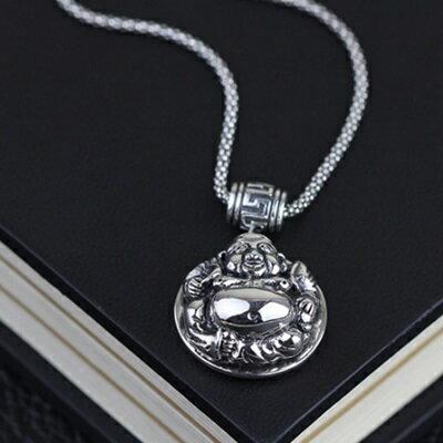 925純銀項鍊吊墜~彌勒佛 復古情人節生日 女飾品73gm101~ ~~米蘭 ~ ~  好