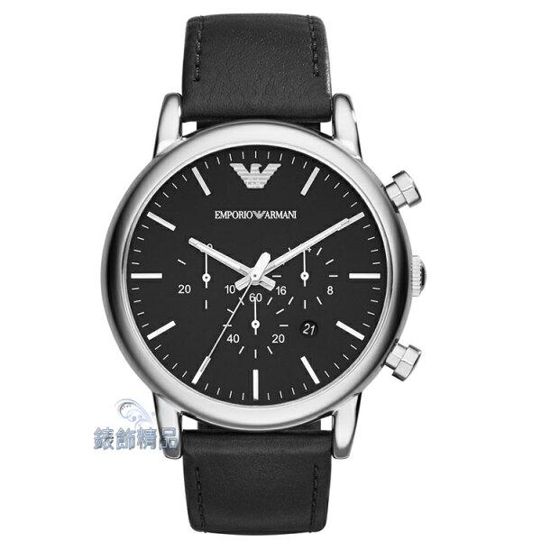 【錶飾精品】ARMANI手錶 亞曼尼表 黑面計時日期 大錶徑 黑色真皮錶帶男錶 AR1828 全新原廠正品 情人生日禮物
