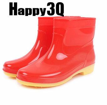繽紛多色防滑橡膠短筒雨靴工作女鞋-藍/綠/紅/紫37-41【AAA0117】