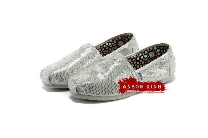 [女款] 國外代購TOMS 帆布鞋/懶人鞋/休閒鞋/至尊鞋 亮片系列  銀色 0