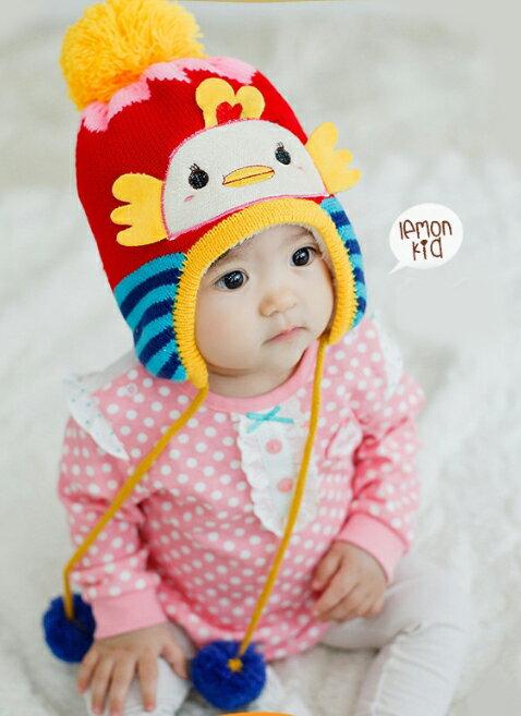 Lemonkid◆ 超可愛嘟嘴小鴨立體翅膀大毛球 兒童保暖針織毛線帽~紅色 ~  好康折扣