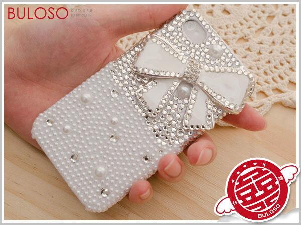 ~不囉唆~~Y234313~ 白色蝴蝶結珍珠 奧地利水鑽 Iphone 4保護殼 鑲鑽殼