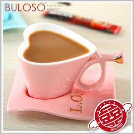 《不囉唆》歐式咖啡心形杯碟組 愛心/馬克杯/咖啡杯/陶瓷/杯子/情人節/情侶杯【A297134】