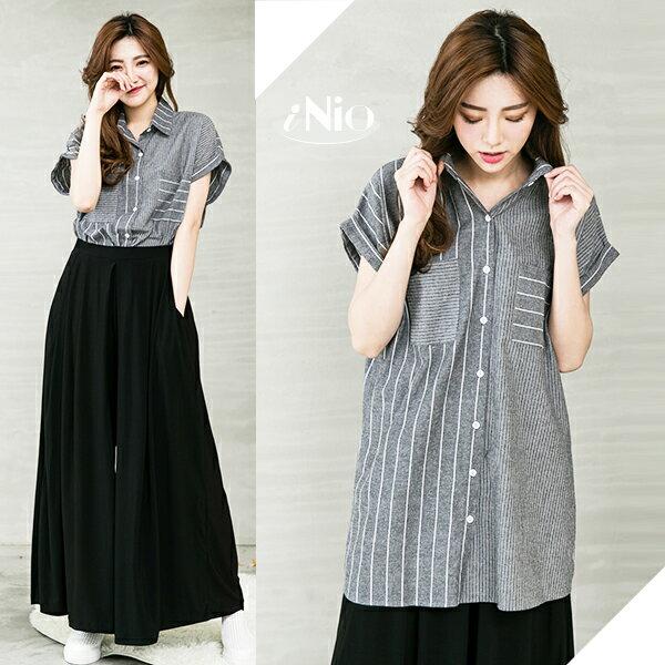 iNio  寬鬆顯瘦襯衫~B16W010081