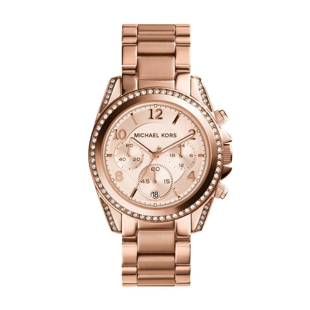 美國Outlet正品代購 MichaelKors MK  玫瑰金陶瓷 水鑽 三環 手錶 腕錶 MK5616 1