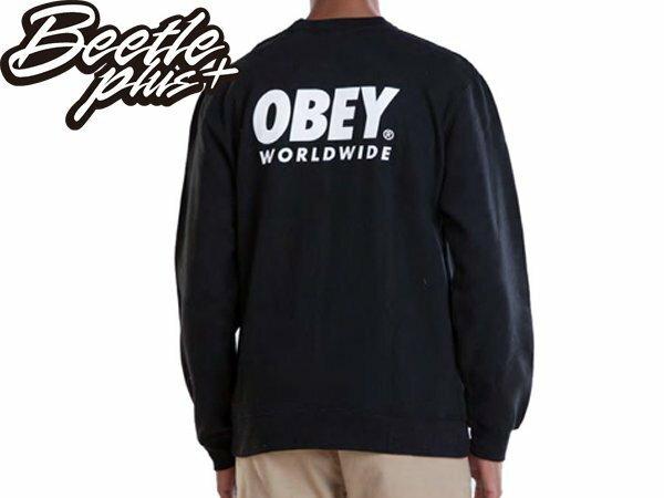 BEETLE PLUS 美國品牌 OBEY WORLDWIDE FAMILY 世界 家庭 黑 長袖 大學 TEE 111740604BLK OB-265 1
