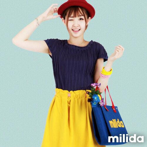 【milida】☆夏季T恤☆素色款☆百搭直條紋T