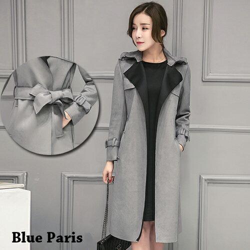 外套 - 雙色翻領絨皮中長款腰綁帶大衣【29155】藍色巴黎-現貨 + 預購 0