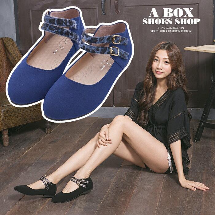 格子舖*【AA9930】MIT台灣製 卡哇伊麂皮豹紋金屬釦環繞踝 舒適柔軟鞋墊  圓頭包鞋 2色 0