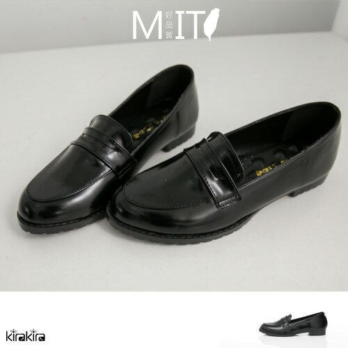 俐落black穿搭 / 學院風俐落感鏡面舒適皮鞋MIT【011500954】