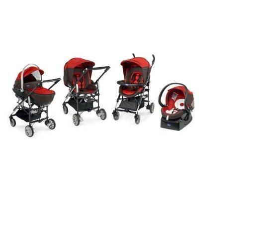 【淘氣寶寶】Chicco Trio Living頂級推車組(紅/灰) 【贈送unilove 兒童餐椅】【保證原廠公司貨】