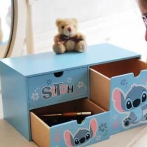 美麗大街【105051020】迪士尼史迪奇造型長型三層櫃 收納盒