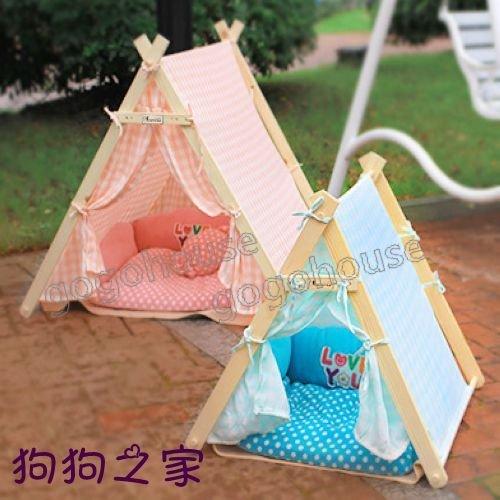 ☆狗狗之家☆可愛夢幻 格紋印第安 三角帳篷 寵物 狗窩 床-大(四色)