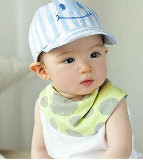 春夏季男女寶寶帽子遮陽帽造型帽-直紋笑臉(適合3m-24m)