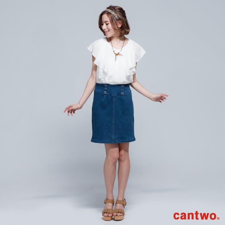 cantwo雪紡荷葉丹寧洋裝(共二色) 0