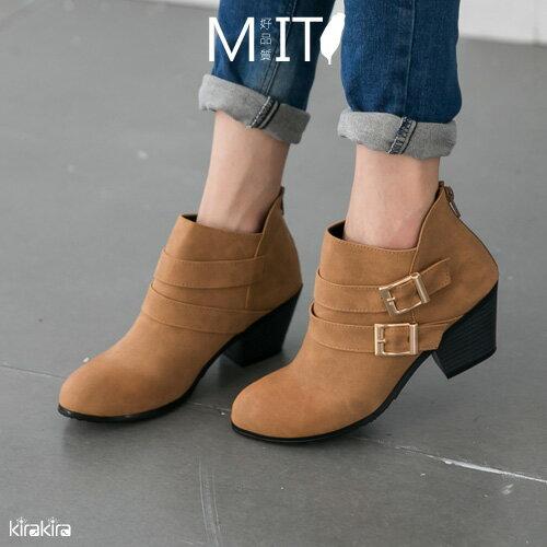 雙釦後拉鏈粗跟短靴