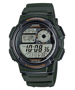 CASIO G-SHOCK AE-1000W-3A經典地圖數位腕錶/綠44mm